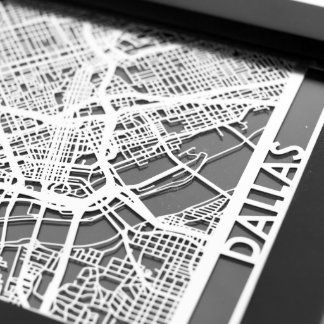 "5"" X 7"" Stainless Steel Cut Dallas Texas City Map"