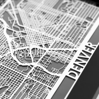 "5"" X 7"" Stainless Steel Cut Denver City Map"