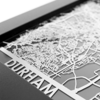"5"" X 7"" Stainless Steel Cut Durham City Map"