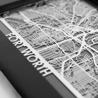 "5"" X 7"" Stainless Steel Cut Fort Worth City Map"