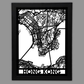 """24"""" X 18"""" Cut Out Hong Kong City Map Framed"""