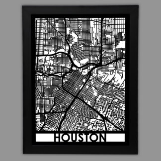 """24"""" X 18"""" Cut Out Houston City Map Framed"""
