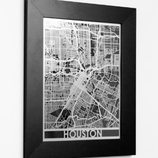 """11"""" X 14"""" Stainless Steel Cut Houston City Map"""