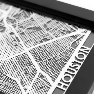 """5"""" X 7"""" Stainless Steel Cut Houston Texas City Map"""