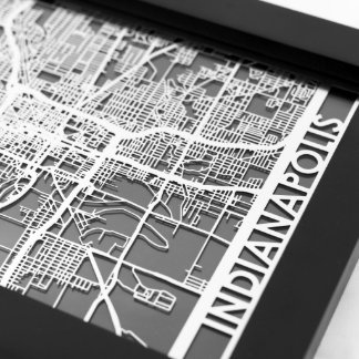 "5"" X 7"" Stainless Steel Cut Indianapolis City Map"