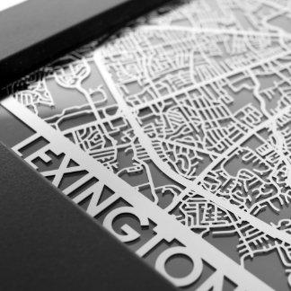 "5"" X 7"" Stainless Steel Cut Lexington City Map"