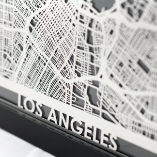 """5"""" X 7"""" Stainless Steel Cut Los Angeles City Map"""
