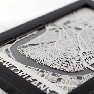 "5"" X 7"" Stainless Steel Cut New Orleans City Map"