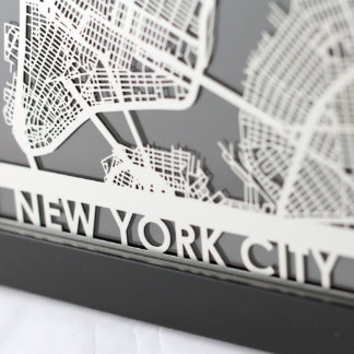 """5"""" X 7"""" Stainless Steel Cut New York City Map"""