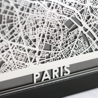 "5"" X 7"" Stainless Steel Cut Paris France City Map"