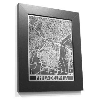 "11"" X 14"" Stainless Steel Cut Philadelphia Map"