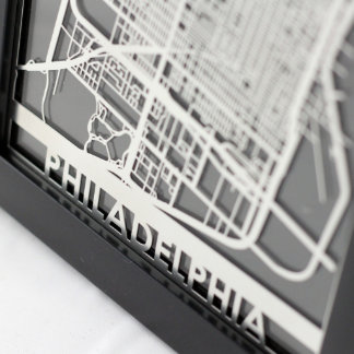 "5"" X 7"" Stainless Steel Cut Philadelphia City Map"