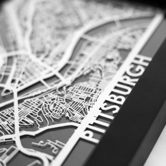 "5"" X 7"" Stainless Steel Cut Pittsburgh City Map"