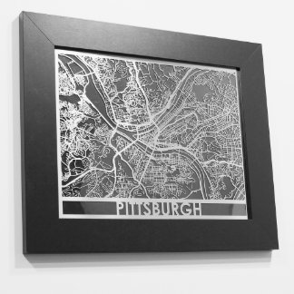 "11"" X 14"" Stainless Steel Cut Pittsburgh City Map"