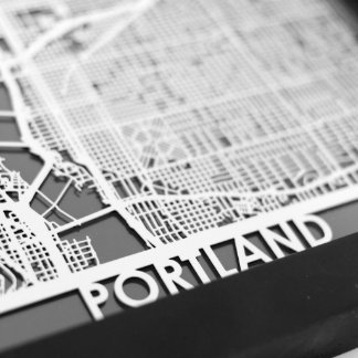 "5"" X 7"" Stainless Steel Cut Portland City Map"