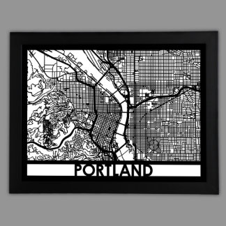 "24"" X 18"" Cut Out Portland City Map Framed"