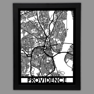 """24"""" X 18"""" Cut Out Providence City Map Framed"""