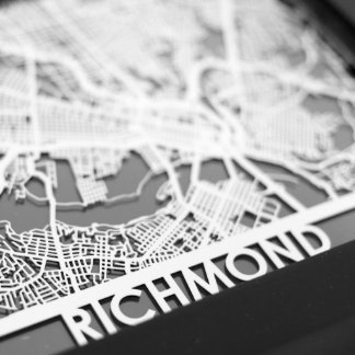 "5"" X 7"" Stainless Steel Cut Richmond City Map"