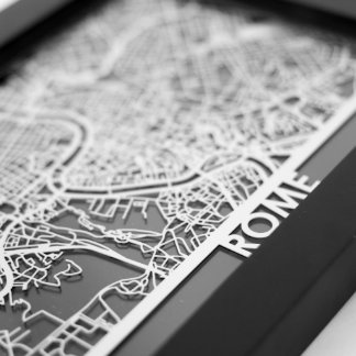 "5"" X 7"" Stainless Steel Cut Rome City Map"
