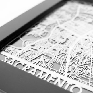"5"" X 7"" Stainless Steel Cut Sacramento City Map"