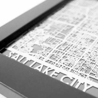 "5"" X 7"" Stainless Steel Cut Salt Lake City Map"