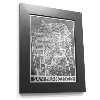 """11"""" X 14"""" Stainless Steel Cut San Francisco Map"""