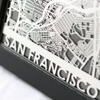 "5"" X 7"" Stainless Steel Cut San Francisco City Map"