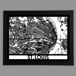 """24"""" X 18"""" Cut Out St. Louis City Map Framed"""