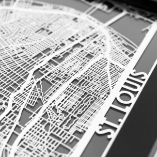 "5"" X 7"" Stainless Steel Cut Saint Louis City Map"