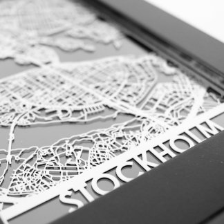 "5"" X 7"" Stainless Steel Cut Stockholm City Map"
