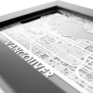 """5"""" X 7"""" Stainless Steel Cut Vancouver City Map"""