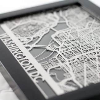 "5"" X 7"" Stainless Steel Cut Washington D.C. Map"