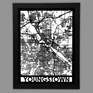 """24"""" X 18"""" Cut Out Youngstown City Map Framed"""