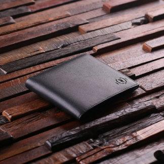 Black Monogrammed Engraved Leather Mens Wallet