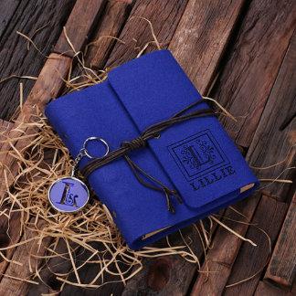 Personalized Felt Journal & Key Chain Set - Blue