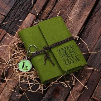 Tropical Green Customized Felt Journal & Key Chain