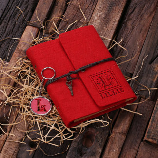 Personalized Felt Notebook & Key Chain Set - Red