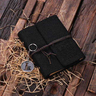 Black Personalized Felt Notebook & Key Chain Set