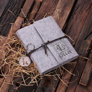 Custom Felt Journal & Key Chain Set - Light Grey