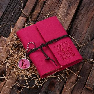 Custom Felt Journal & Key Chain Set - Fuchsia
