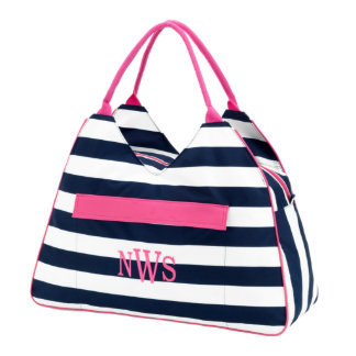 Monogram Navy Stripe Beach Bag