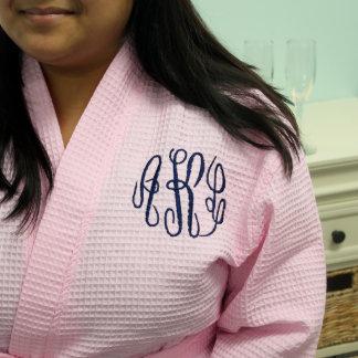 Light Pink Waffle Robe with Navy Monogram