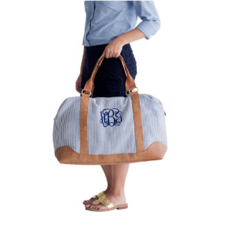 Monogram Seersucker Honeymoon Weekender Bag