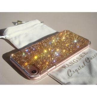 iPhone 7 Clear Case Rose Gold Crystals