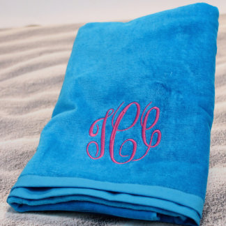 Turquoise Beach Towel with Pink Monogram