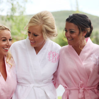 White Waffle Robe with Light Pink Monogram