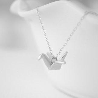 Silver Origami Folded Crane Necklace