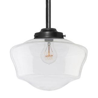 Handblown Glass Schoolhouse Black Pendant Light
