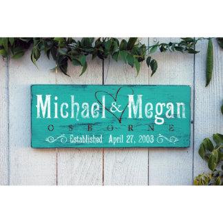 Handmade Rustic Aqua Wedding Sign