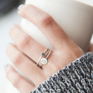 Set of Three Silver Stacking Rings with Initial